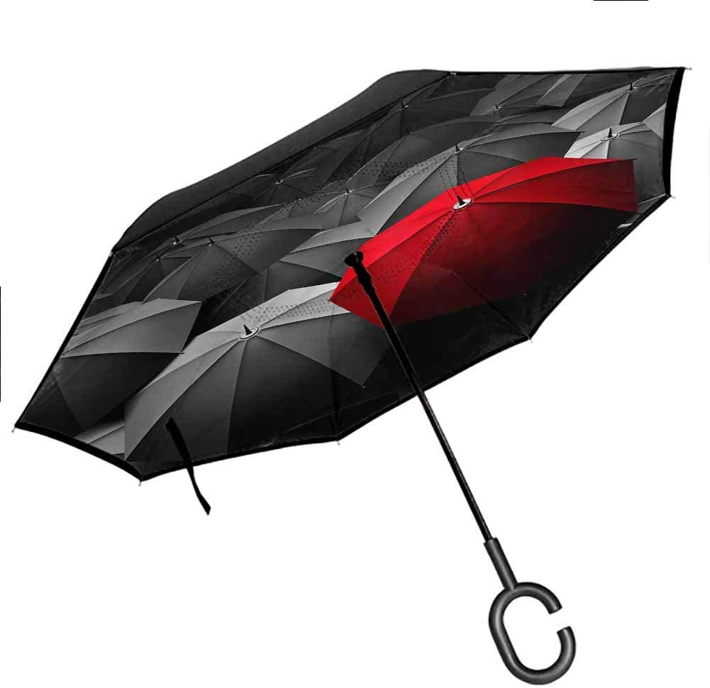 sashimii Red Plant On Wooden Boards Inverted Umbrella for Car and Outdoor Use by for UV Protection & Rain, 42.5