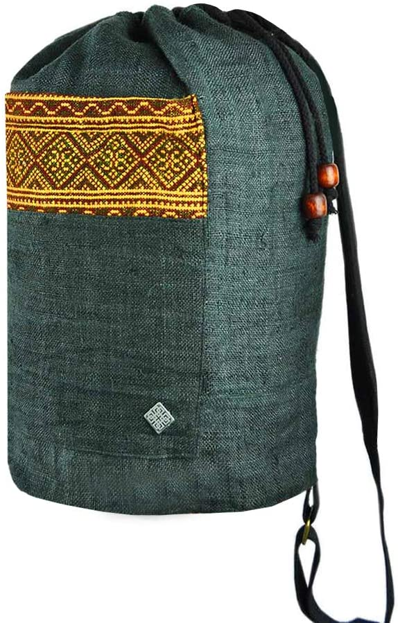virblatt 100% hemp backpack hand-woven hill tribe patterns–Freiheit black