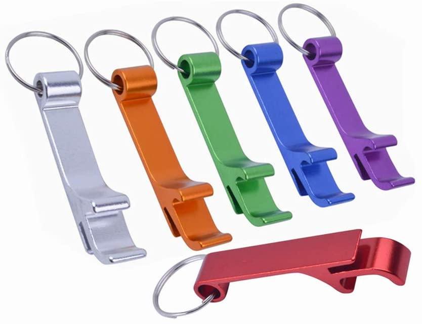 Metal Keychain Bottle Opener, Aluminum Bartender Beverage Beer Bottle Opener Key Ring Chain Pocket (6 Pack Bulk)