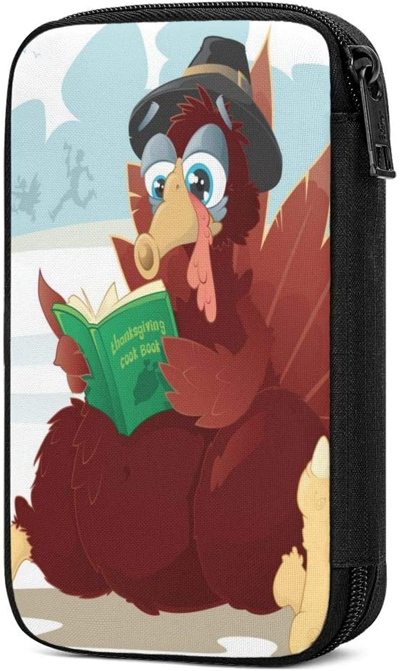 Electronics Organizer Turkey Reading A Cookbook Thanksgiving Electronic Accessories Cable Organizer Case Bag Double Layer Travel Cable Storage Bag for Cables, Laptop Charger, Tablet Thick Large