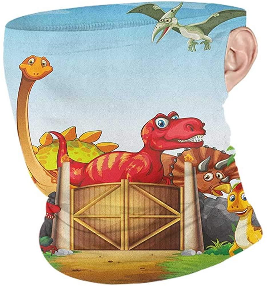 Neck Gaiters Summer Kids Cartoon Style Cute Dinosaurs in a Dino Park Jungle Trees Wildlife Habitat Illustration,Winter Neck Gaiter Multicolor 10 x 12 Inch