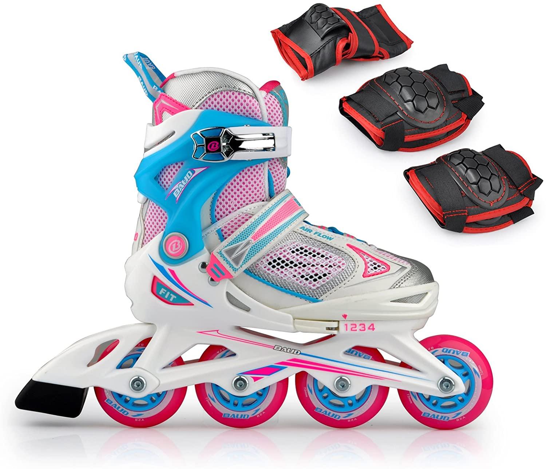 Smartodoors Children's Inline Skates +Wrist Guards Knee Pads and Elbow Pads Sets (PinkA, M(1-3.5))