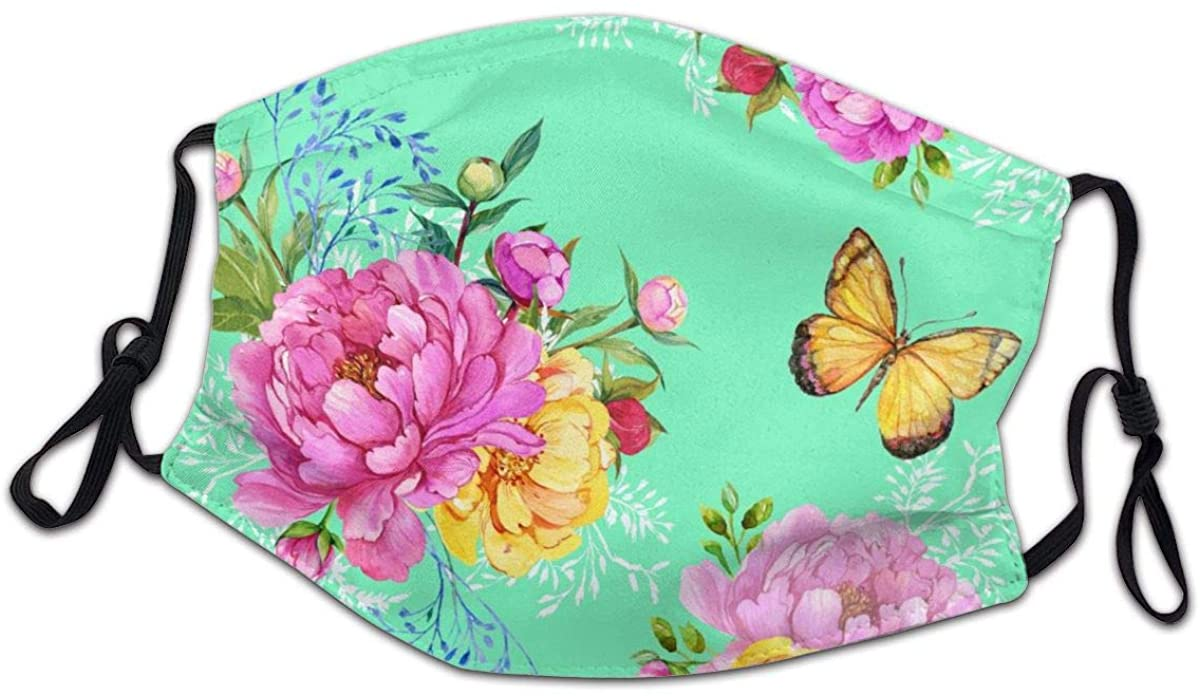 SLHFPX Roses and Butterflies Vintage Face Bandanas for Kids Boys Girls Dust-Proof Facial Protective