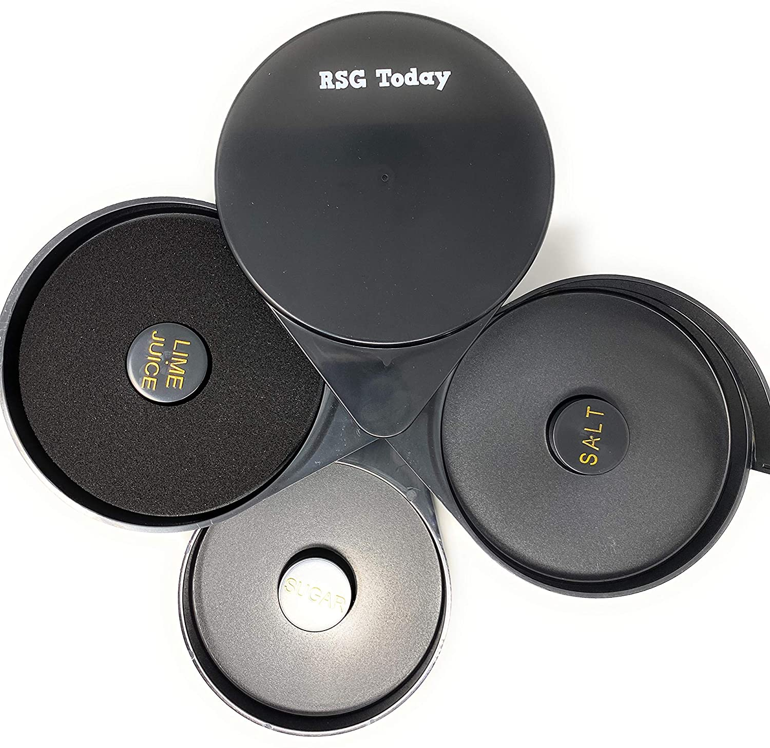 RSG TODAY Black Plastic Glass Rimmer and Margarita Salter with 3 Compartments
