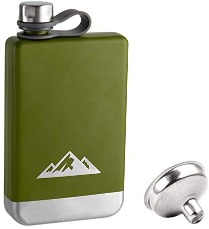 KWANITHINK Flasks for Liquor Outdoor, Stainless Steel Hip Flask for Men with Funnel, Whiskey Flask with Integrated Steel Cap for Camping Climbing Hiking Picnic Exploration, Gift for Father's Day