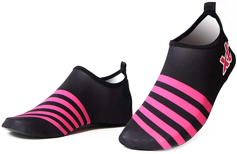 Bestgift Men's Women's Quick-Dry Non-Slip Swimming Beach Shoes Black+Rose 40-41