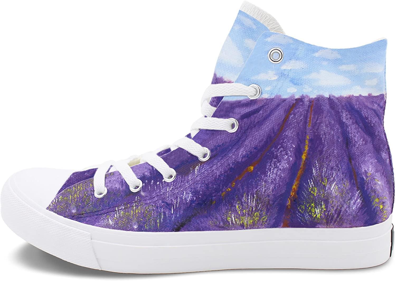 Wen Fire Canvas Shoes Hand Painted Original Design Lavender Fields Sneakers Flat