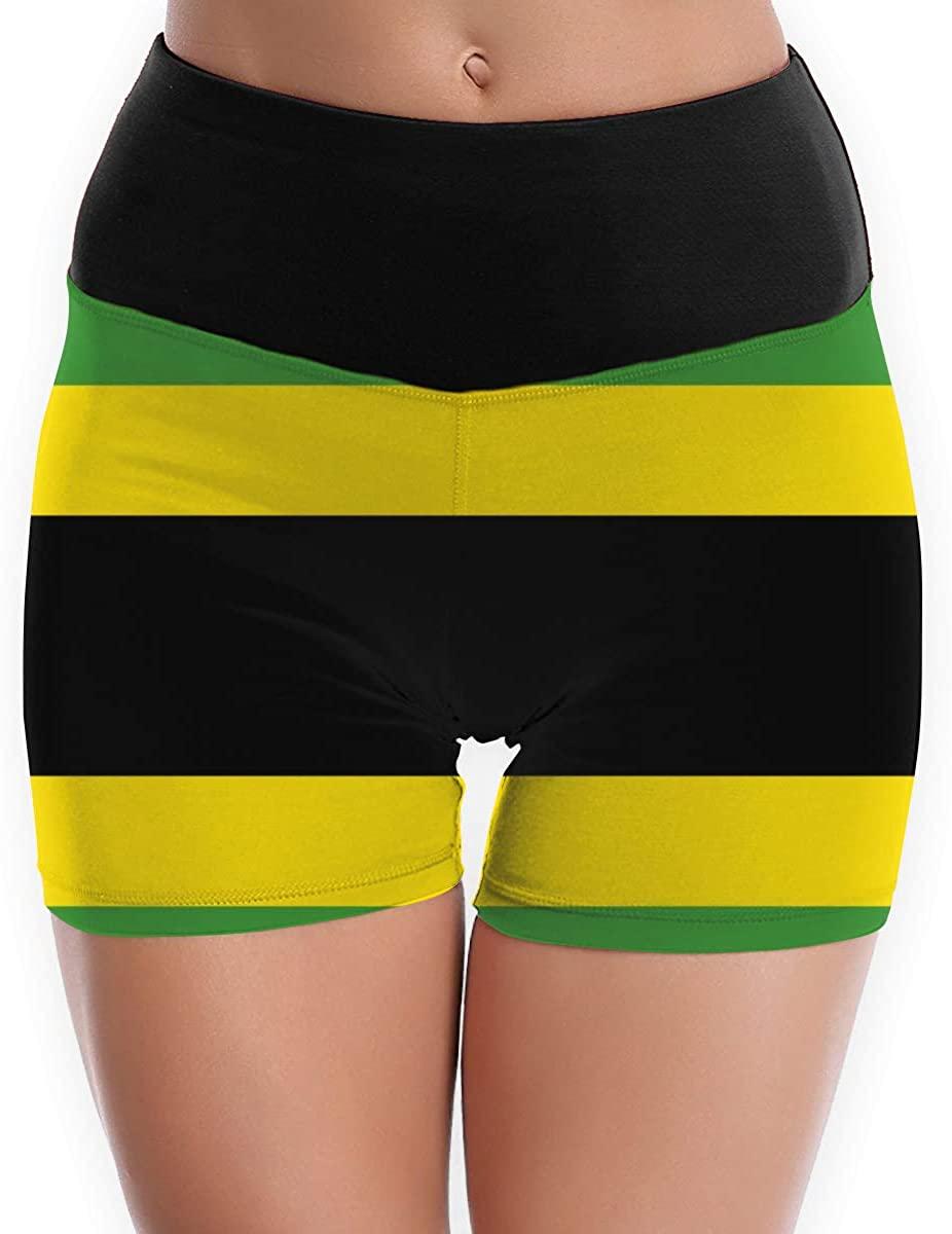 CHEERPEACETIME Women Yoga Shorts Pants Thailand Jamaican Flag Color Striped High Waist Legging