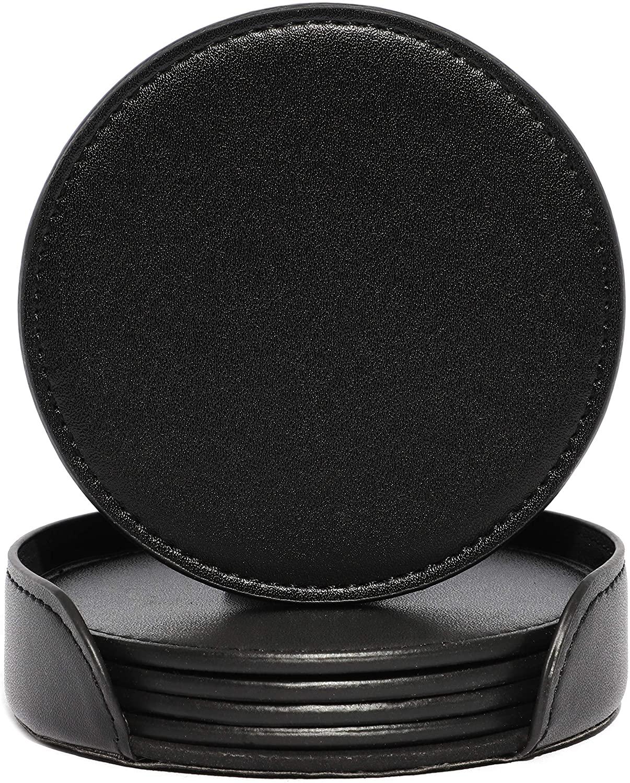 PU Leather Coaster Set with Holder (Black, 6 Pack)