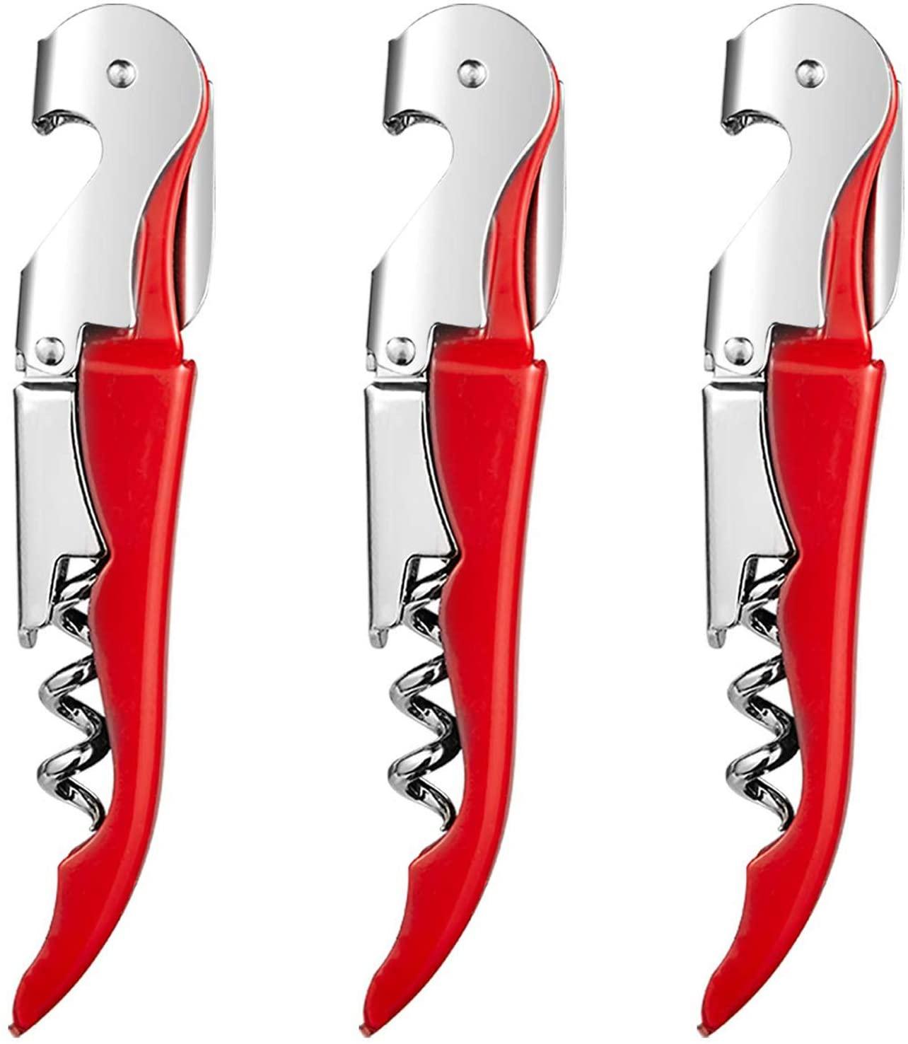 HYZ Waiter Corkscrew with Foil Cutter 3Pack, Double Hinged Wine Bottle Opener Set, High-End Wine Key for Bartender Server Waiter, Stainless Steel Heavy Duty Waiter's Corkscrew - Red