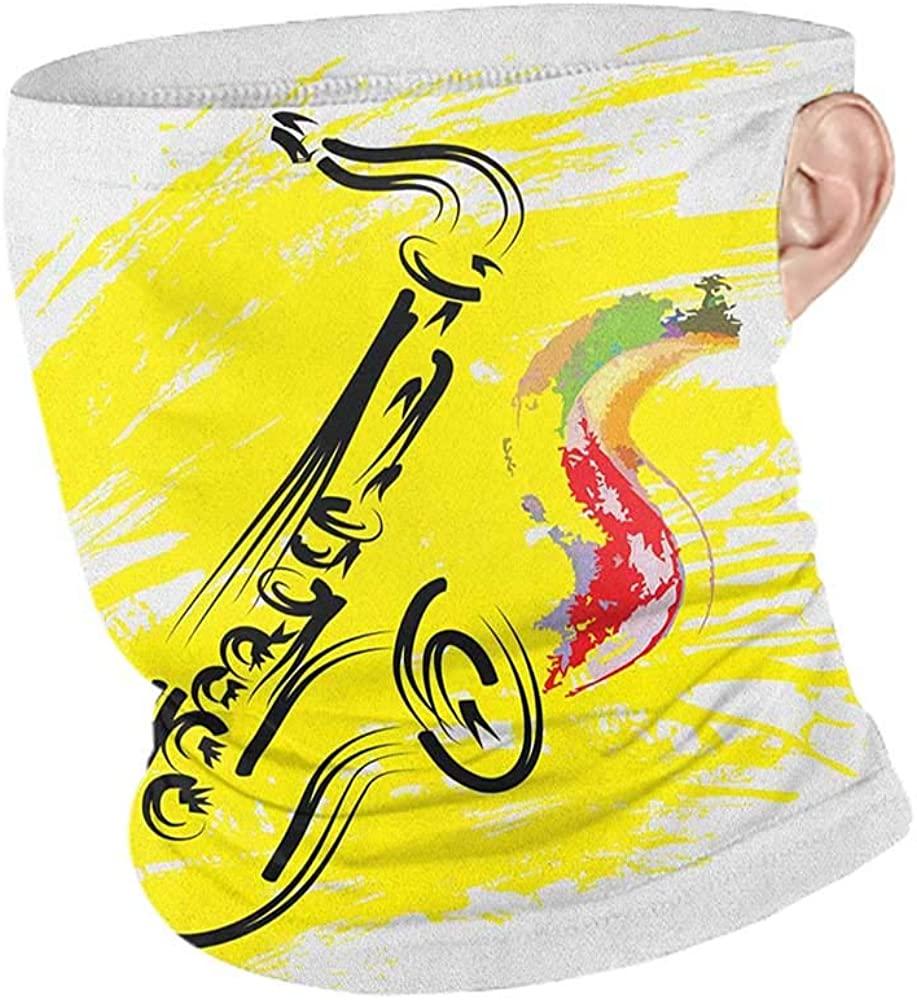Neck Gaiters Summer Jazz Music Stylized Saxophone Color Paint Splash Background Artistic Design Illustration,Unisex Anti-Dust Washable Yellow Black 10 x 12 Inch