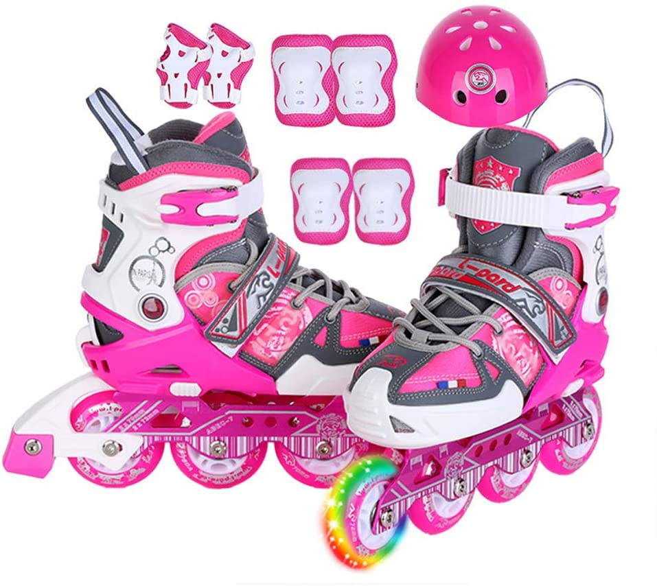 WANGLXST Fashion Inline Skates for Kids Adjustable Size, Multifunctional Casual Roller Skates with LED Luminous Wheel Wear-Resistant PU Pulley Roller Skates Beginner Kinder