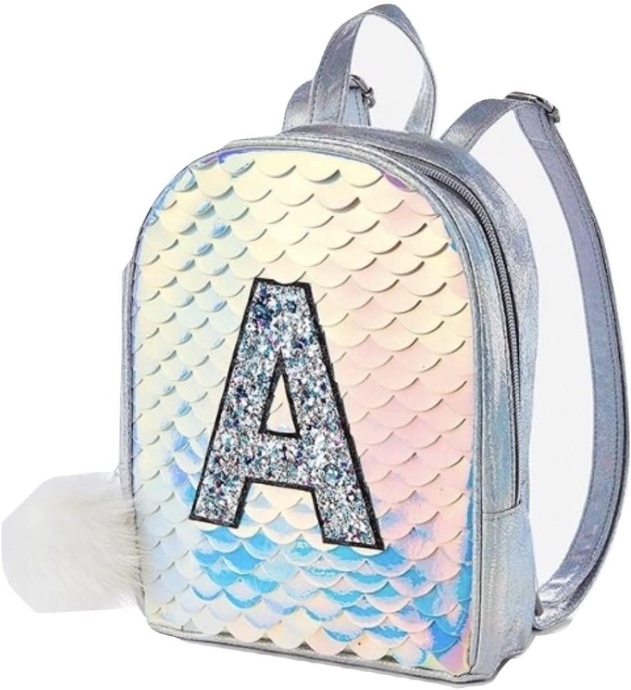 Justice Initial Mermaid Scale Mini Backpack (K)