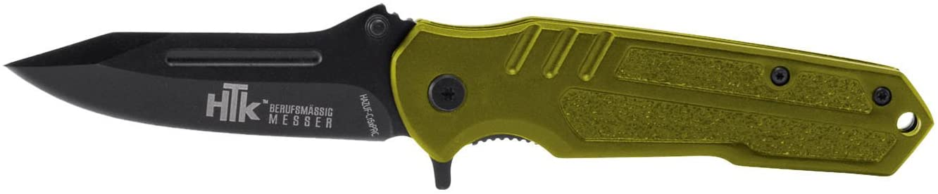 HTK Wolf CR3X Spring Assist Rubberized Handle Belt Clip Half Serrated Blade, 3.2