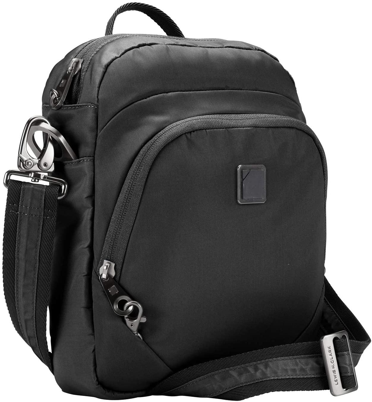 Lewis N. Clark Secura RFID Blocking Anti-Theft Backpack + Crossbody Bag for Travel, Onyx
