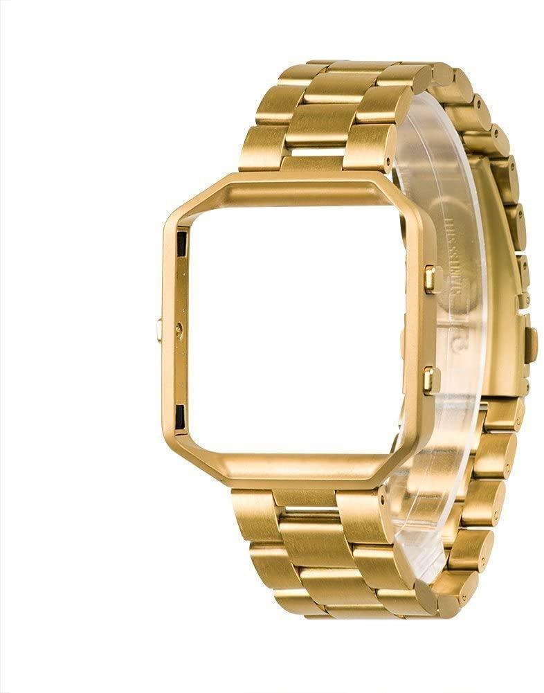 Wearlizer Compatible Fitbit Blaze Band Men Lux Band Accessories Metal Link Bracelet Replacement Strap Metal Frame Replacement Fitbit Blaze (Gold1)