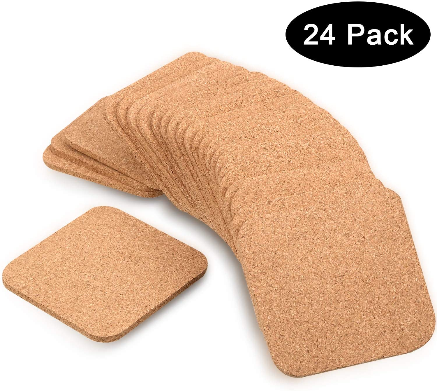 24 Pieces 5 mm Thick Wooden Cork Coasters Absorbent Square Drink Coasters Cork Trivet Mats, 4 x 4 Inch