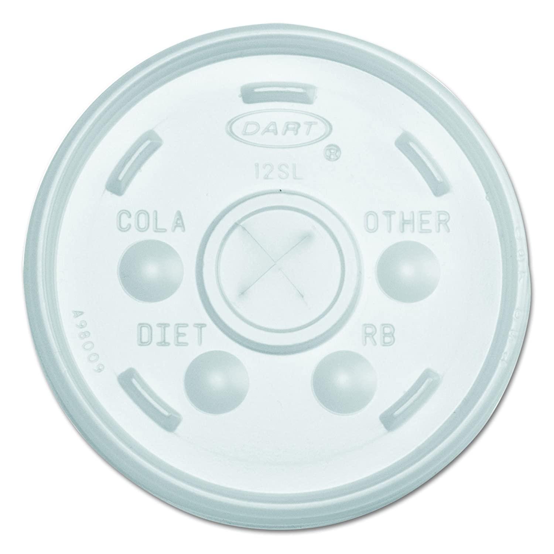 Dart 12SL Translucent Straw Slotted Lid (Case of 1000)