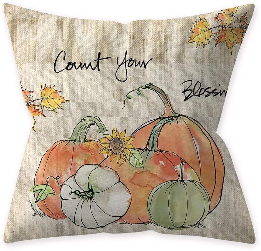 Halloween Pillow Covers Pumpkin Smiley Face Throw Pillowcase with Hidden Zipper Sofa Cushion Cover for Halloween Home Car Decor, 17.72