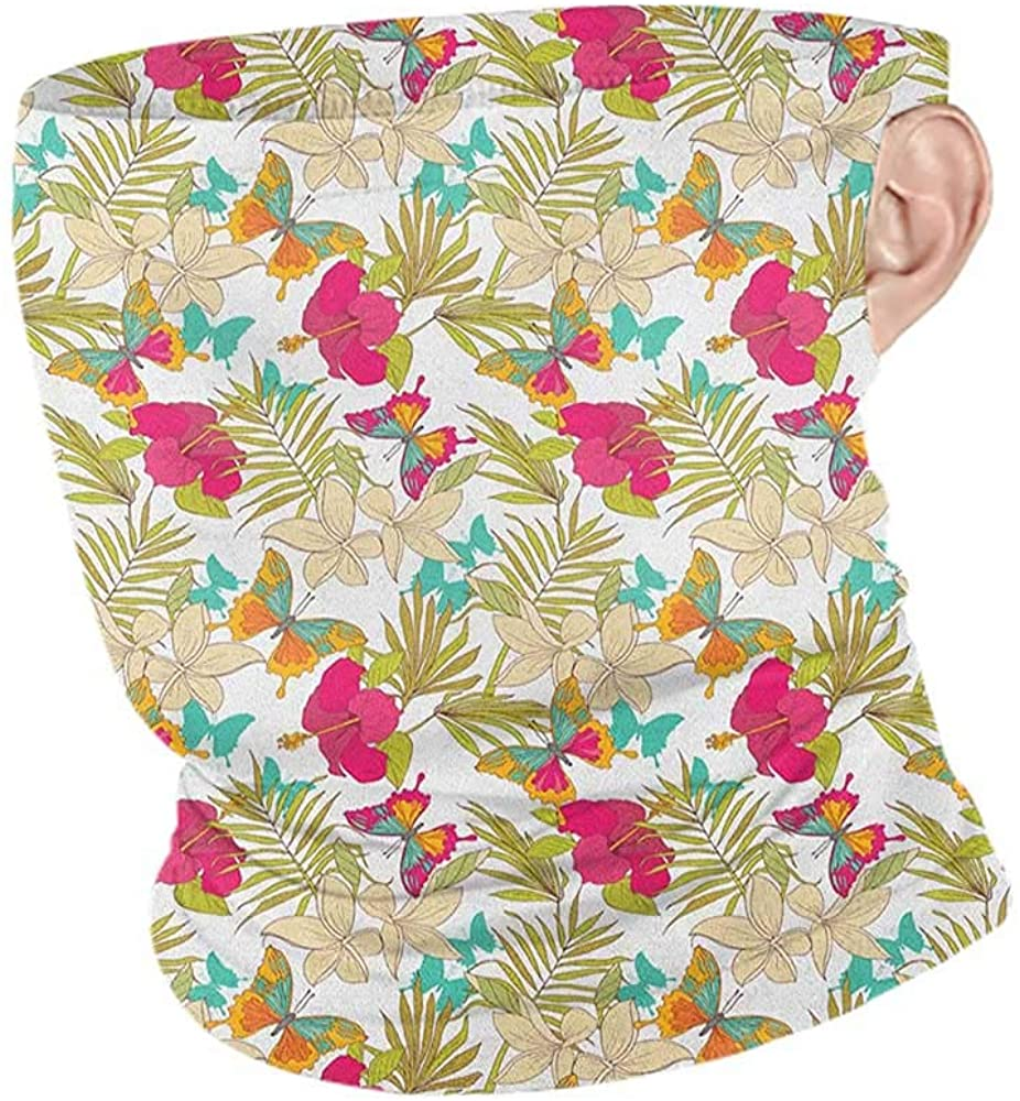 Bandana Summer Hawaiian Tropical Frangipani and Hibiscus Blossoms Exotic Butterflies with Palm Leaves,Creative Personality Custom Scarf Multicolor 10 x 12 Inch