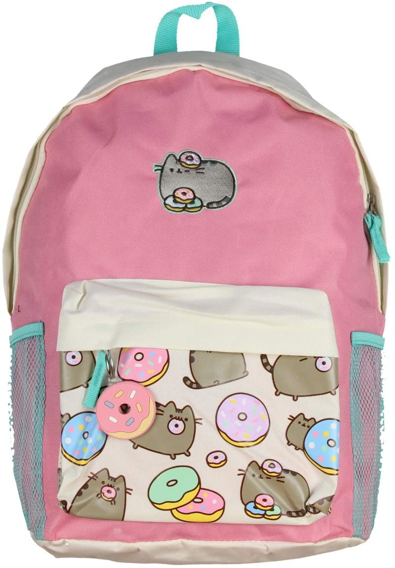Pusheen Cat Donuts Zipper Backpack with Front Pocket and Donut Charm