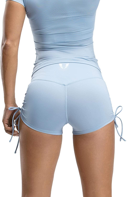 Firm ABS High Waist Drawstring Yoga Short Tummy Control Workout Running Athletic Non See-Through Yoga Shorts
