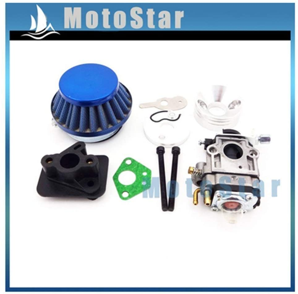 scooter 15mm Carburetor + Blue 44mm Air Filter + Alloy Stack Kit for 2 Stroke 33cc 43cc 50cc