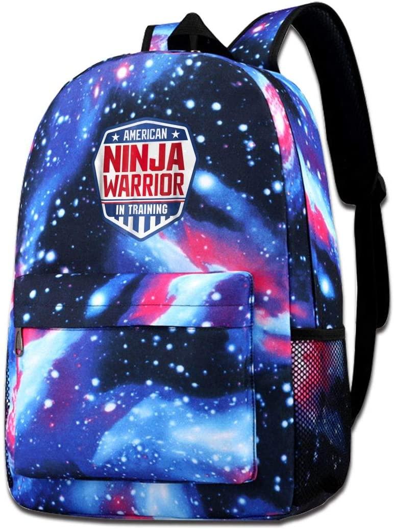 Luomingg Ninja Warrior in Training American Starry Backpack Shoulder Bag Bookbag Daypack