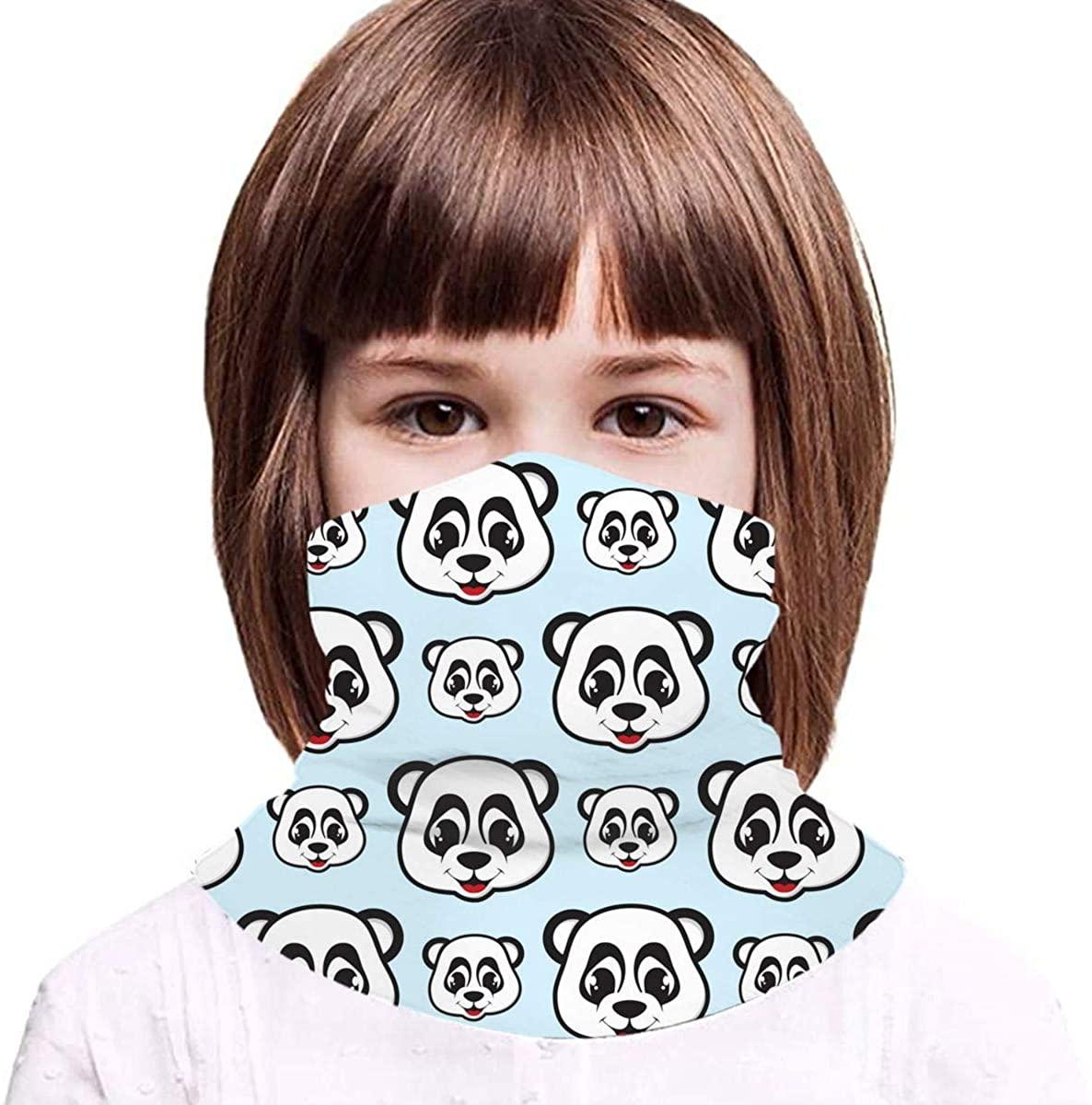 Smile Panda Neck Gaiter Face Mask Bandana Dust Wind Sun UV Balaclava for Teen Boy Girl Outdoors