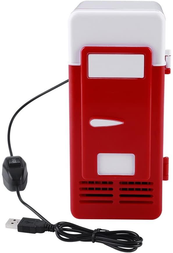 Mini Fridge, LED Mini USB Fridge Mini USB Refrigerator USB Refrigerator Portable Refrigerator Drinks Beverage Cans Refrigerator and Heater (red)