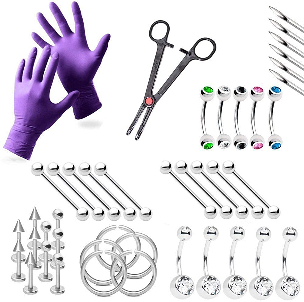 BodyJewelryOnline 42-Piece Piercing Kit Lip, Belly, Eyebrow, Tongue, Ear Piercing Jewelry Needles,Gloves and Tools Included