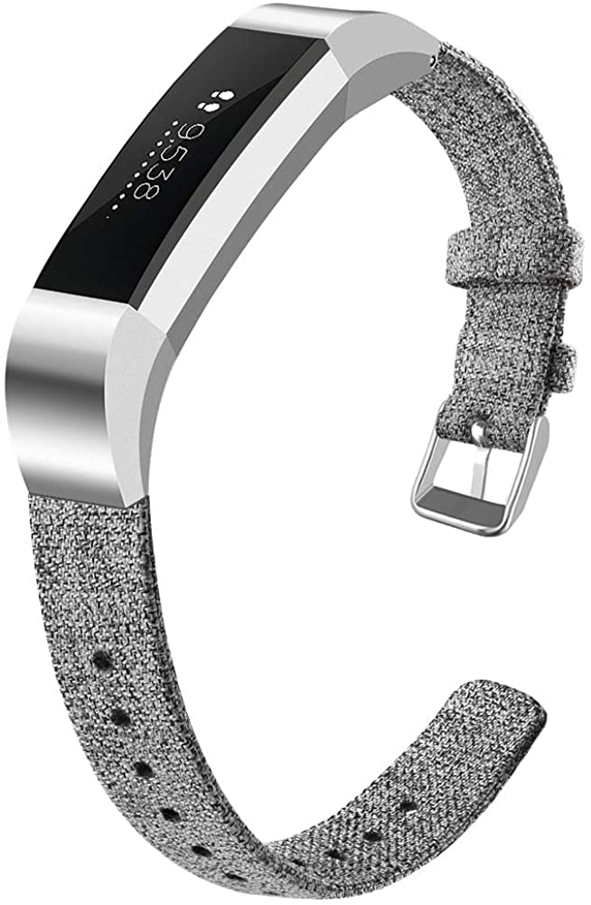 OenFoto Bands Compatible Fitbit Alta HR/Fitbit Alta/Ace, Adjustable Nylon Wristband Replacement Watch Band Strap Accessory Bracelet for Fitbit Alta HR/Fitbit Alta Smart Watch, Light Gray Small