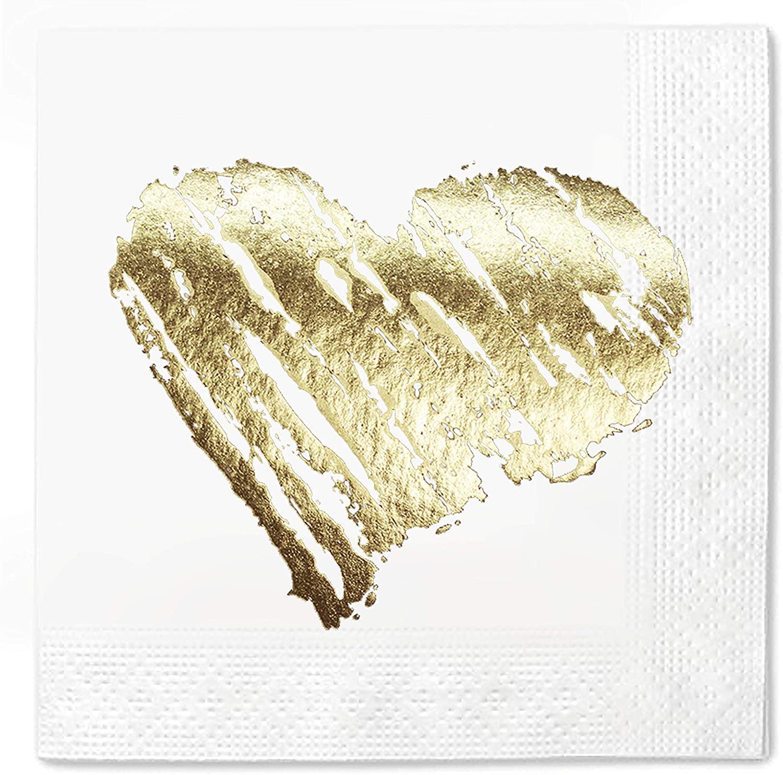 Napkins Brush Stroke Heart 100 Pack Gold Foil Cocktail disposable paper supplies