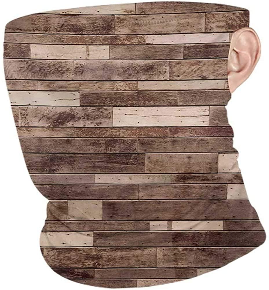 Neck Gaiters Summer Wooden Wall Floor Textured Planks Panels Picture Art Print Grain Cottage Lodge Hardwood Pattern,Sunscreen Bandana Brown 10 x 12 Inch