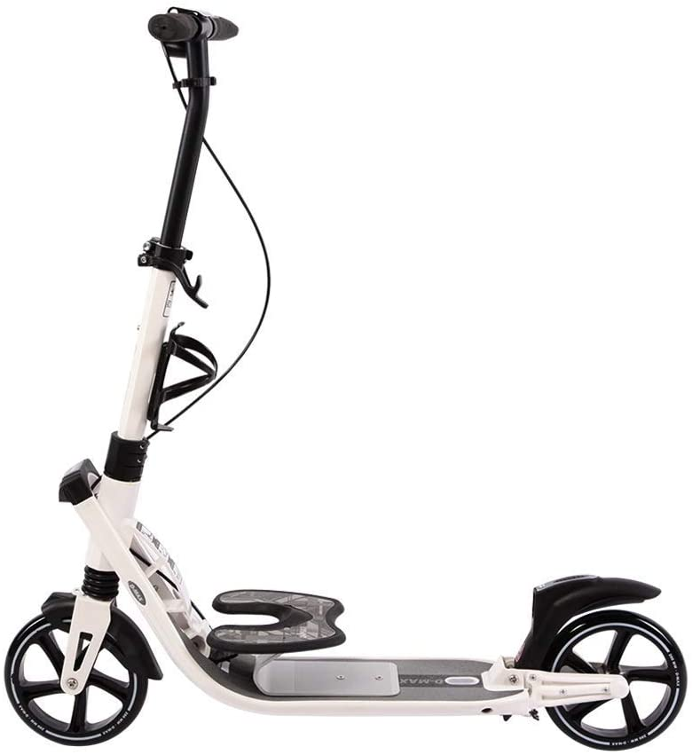 PLLP Outdoor Sports Scooter Kick,Portable Adult Kick with Adjustable Handlebar, Shock-Absorbing Pu Wheel City with Hand Brake, 100Kg Load, Non-Electric Adult Child Toy Balance Car Mini,White