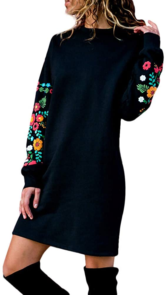 Plus Size Dresses,Women Autumn Winter Casual Long Sleeve Floral Embroidery Sweatshirt Dress
