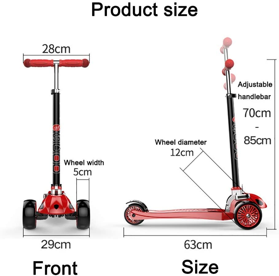 PLLP Child Foldable Scooter-Scooter Kick Folding Toddlers Kick up to 176Lbs, Adjustable 3 Wheel Green Kids for 3-18 Year-Old Teens, Intelligent Turning