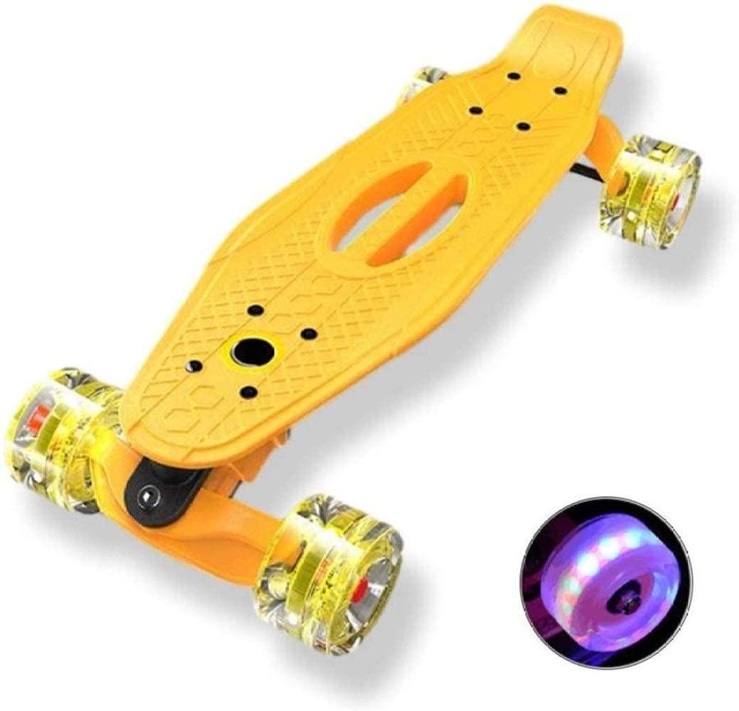 HAOWUTX Skateboard Plastic Cruiser Anti-Skid Deck Mini Cruiser Retro Skateboard (Color : Yellow)