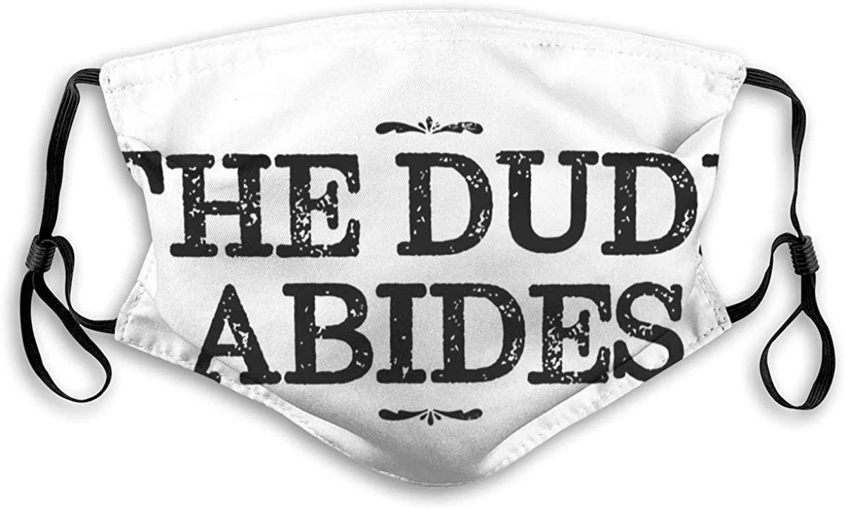 Masks-The Dude Abides, Big Lebowski Quote Reusable Cotton Anti Dust Cover Medium Black