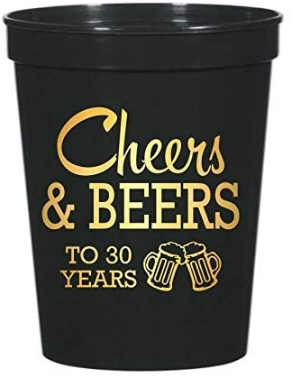 Cheers and Beers to 30 Years Plastic Stadium Cups 30th Birthday Party Cups, Set of 10, 30th Birthday Party Decor, 30th Birthday Party Decorations, Cheers and Beers, Beer Theme Birthday
