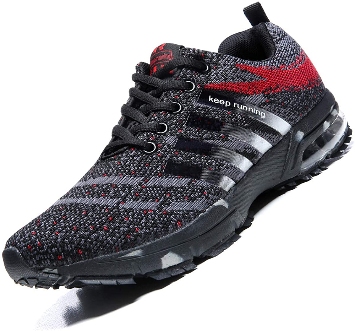 Dabbqis Hiking Shoes for Men Trail Running Sneakers Lightweight Athletic Breathable Water Shoes Black/Red