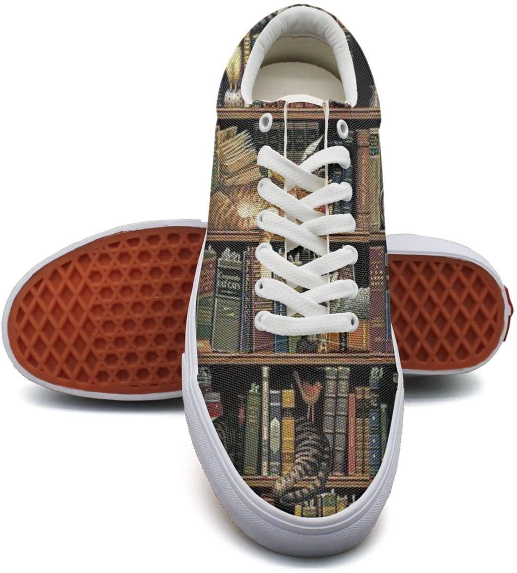 Ouxioaz Womens Action Shoes Vintage Books And Libraries Canvas Tennis Shoes
