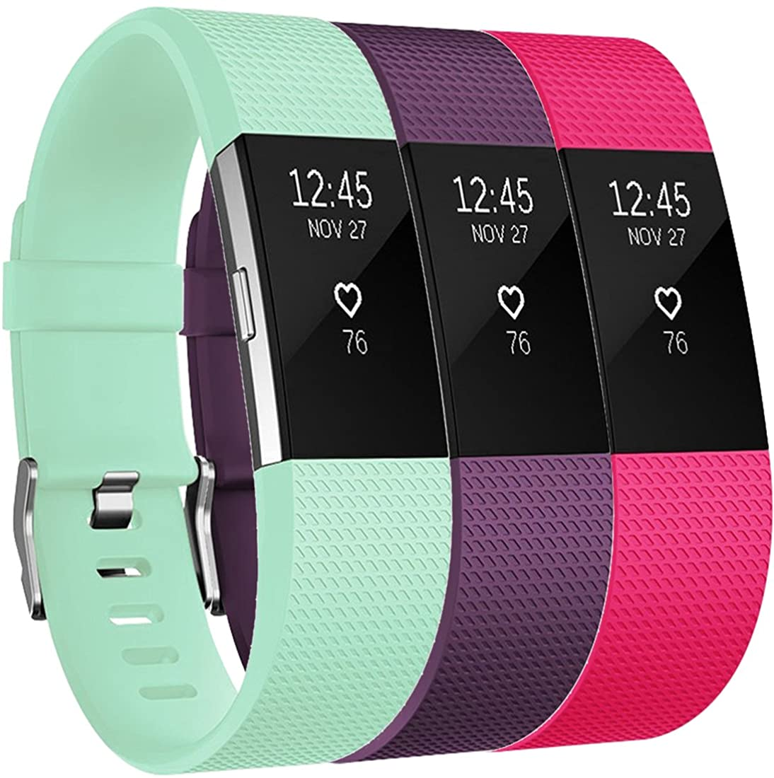 Amzpas Bands Compatible with Fitbit Charge 2 Bands Small Large Adjustable Replacement Accessories Wristbands for Women Men (Rose & Plum & Teal, Large)