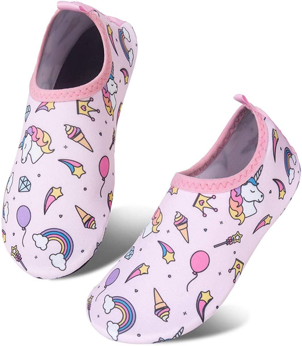 Kids Water Swim Shoes Barefoot Aqua Socks Shoes Quick Dry Non-Slip Baby Boys & Girls (Unicorn/Ice Cream