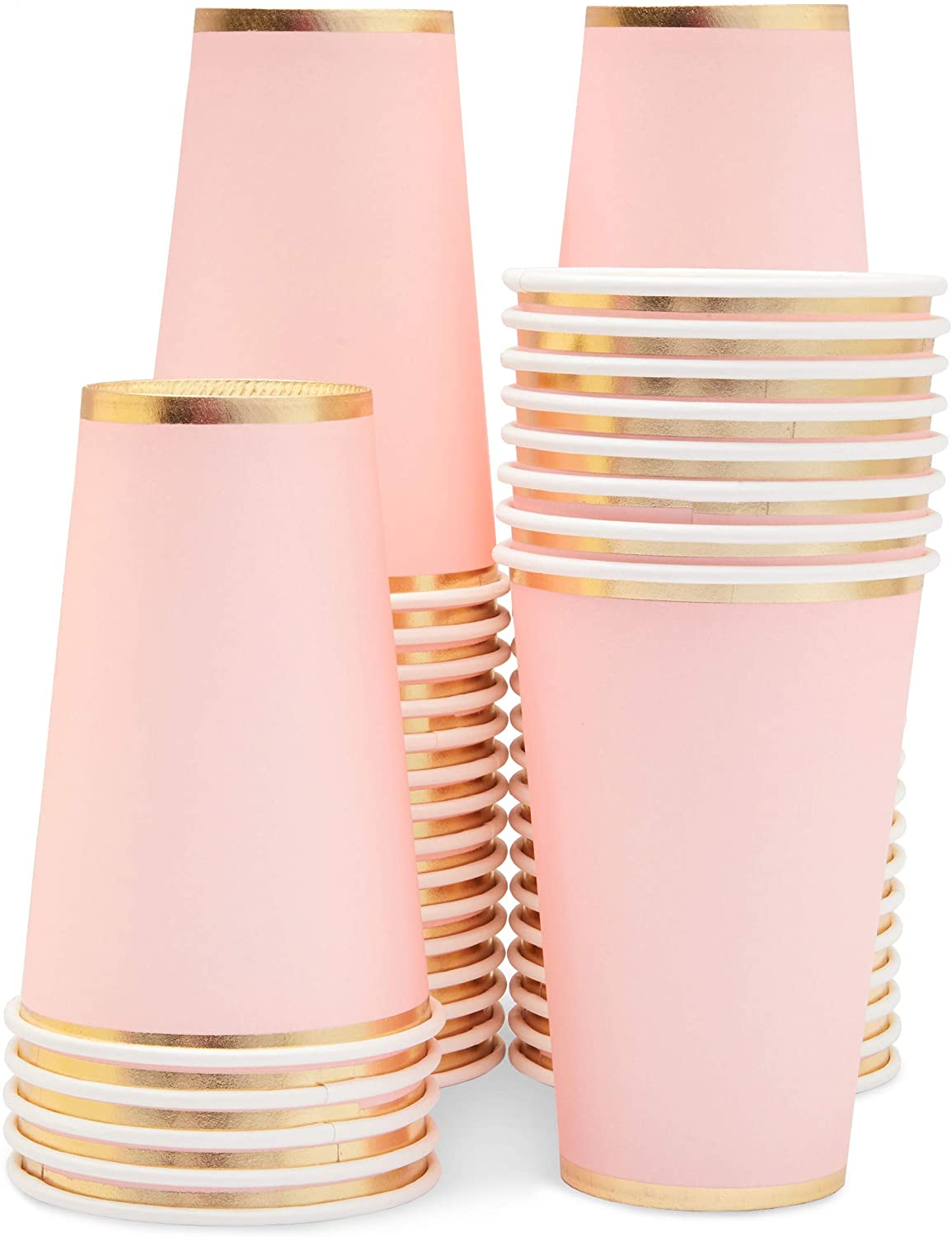 Light Pink Paper Cups, Disposable Party Supplies (9 oz, 50 Pack)