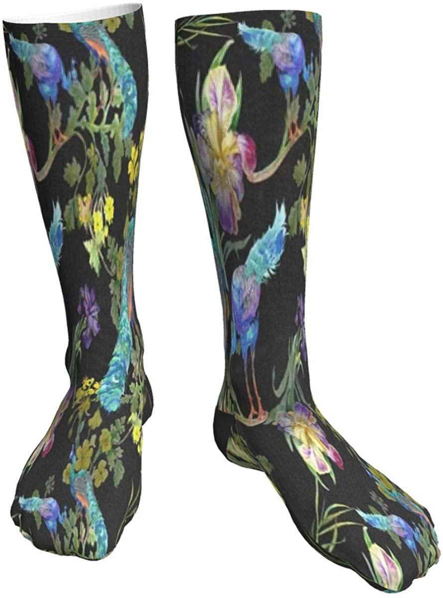 Mens Womens Crew Socks Peacocks Iris Flowers Novelty Mid Calf Dress Athletic Socks Man