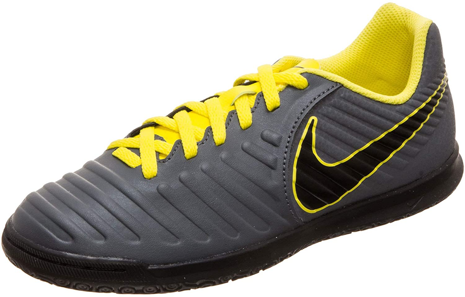 Nike Kids Jr LegendX 7 Club (IC) Indoor Soccer Shoe (4.5Y US, Grey/Yellow)