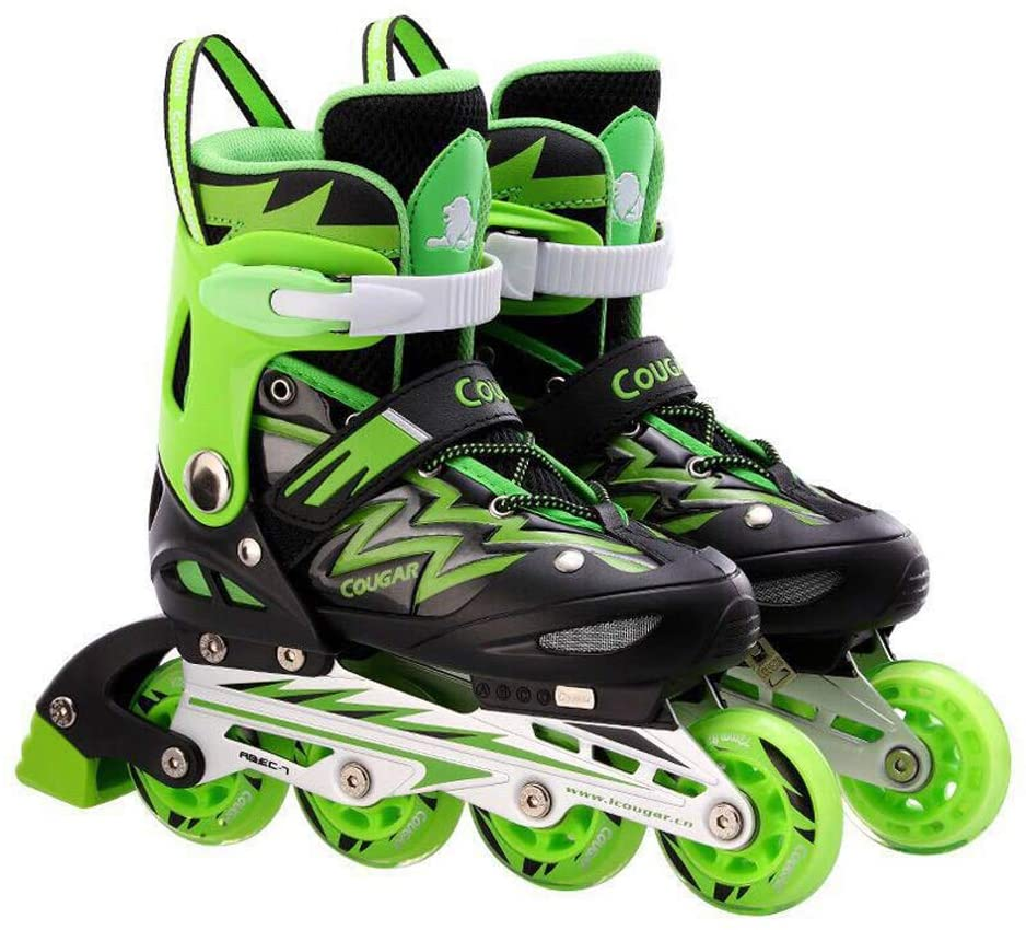 WANGLXST Fashion Inline Skates Triple Adjustable for Beginner, Anti-Impact Toe Cap for Kids and Adults, Protection Shoelace Bar Buckle Good Breathability Kinder