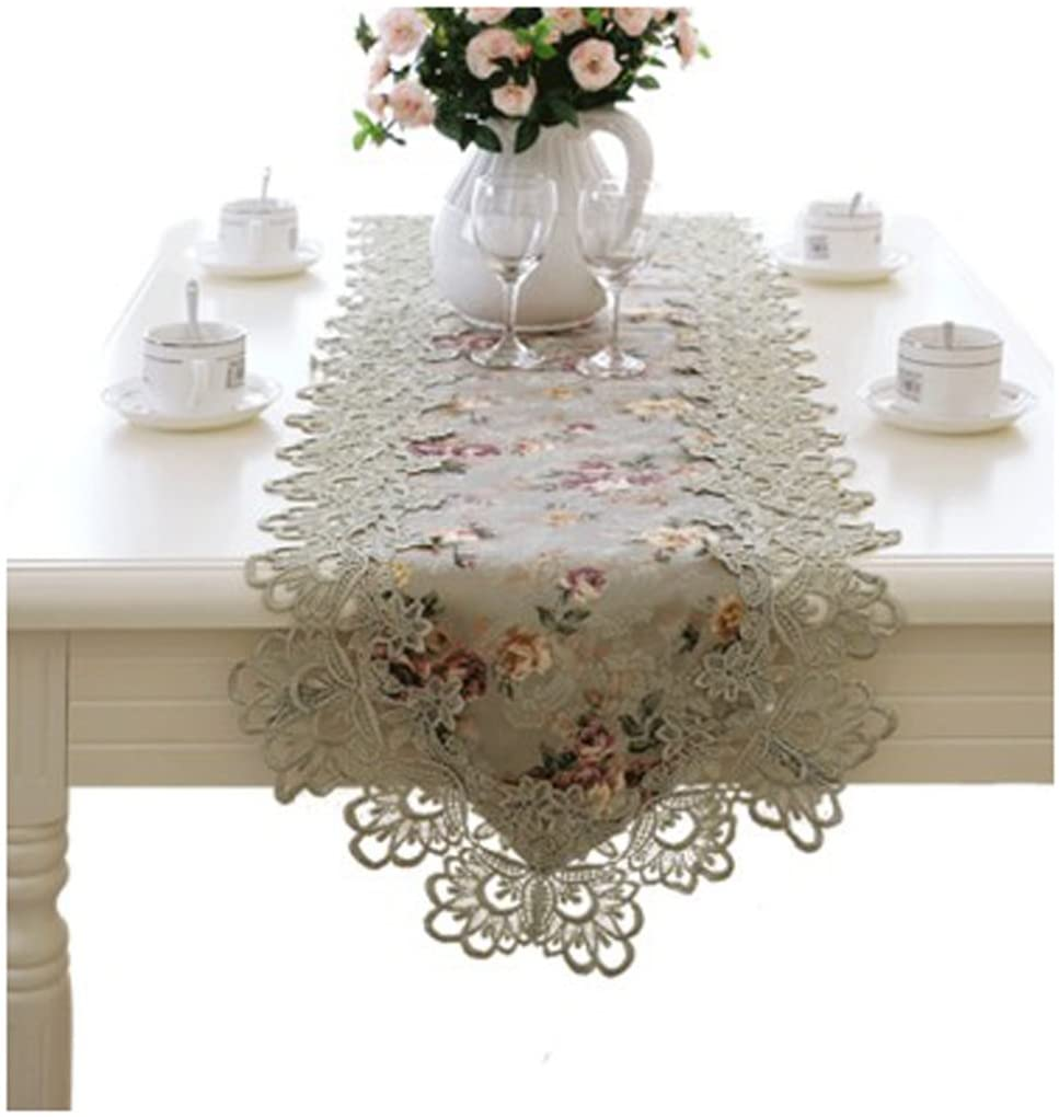 WSHINE Lace Table Runner Tablecover and Dresser Scarf Embroidered Tablecloth Party Home Decor (15.7