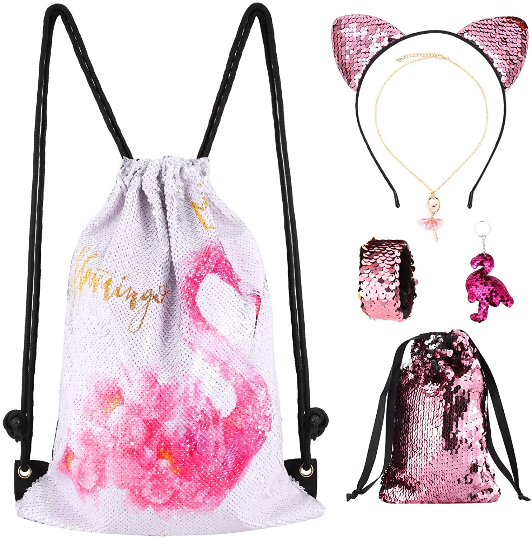 rawstring Bag Sequin Mermaid Backpack Flamingo Dance Bag Reversible Flip Sparkly Bling Backpack for Hiking Beach Travel Bags